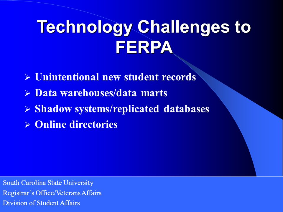 Technology Challenges to FERPA
