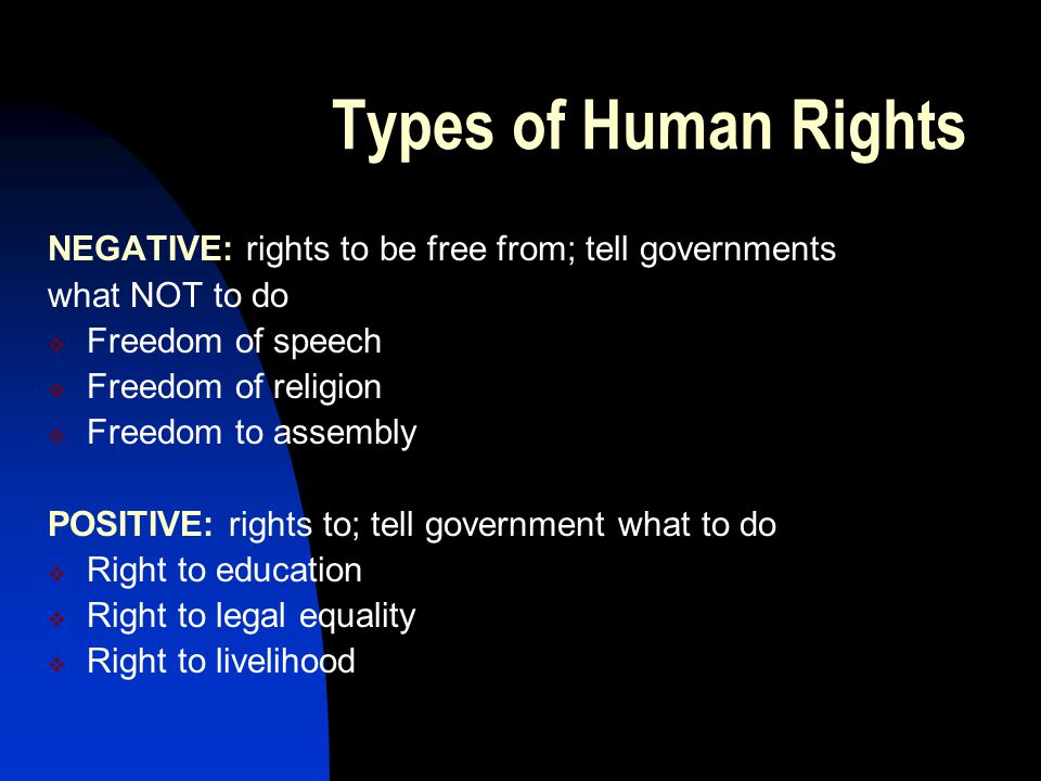 Types of Human Rights NEGATIVE: rights to be free from; tell governments. what NOT to do. Freedom of speech.