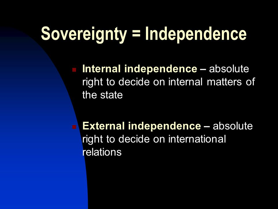 Sovereignty = Independence