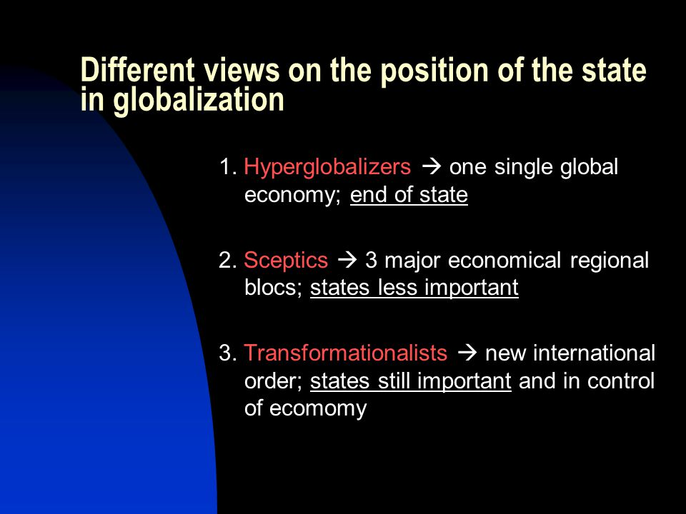 Different views on the position of the state in globalization