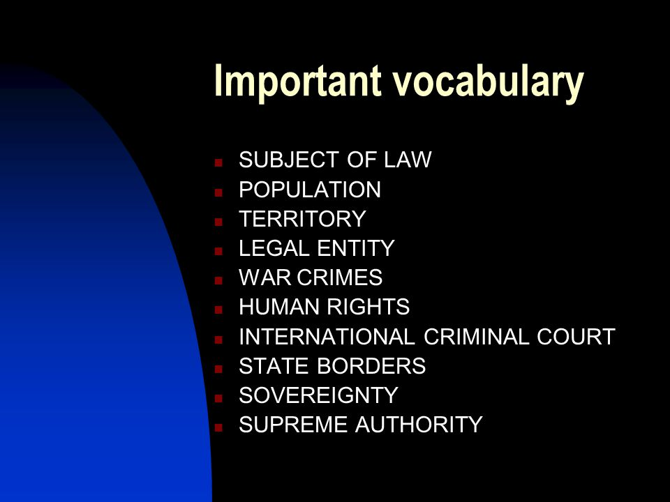 Important vocabulary SUBJECT OF LAW POPULATION TERRITORY LEGAL ENTITY