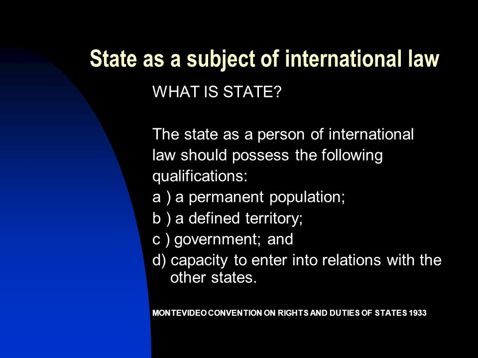 State as a subject of international law