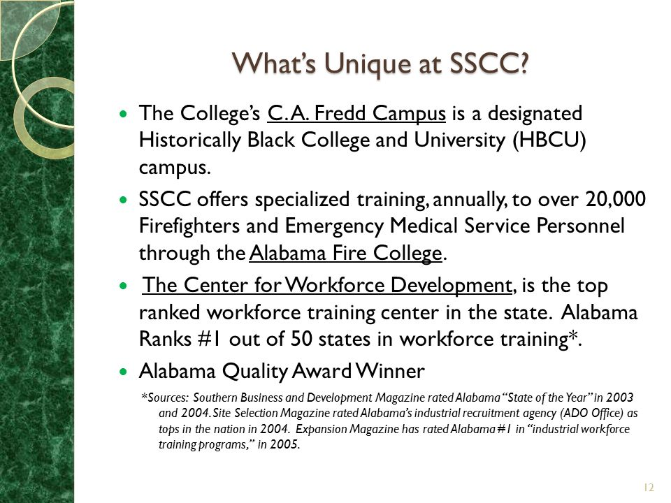 What's Unique at SSCC The College's C. A. Fredd Campus is a designated Historically Black College and University (HBCU) campus.