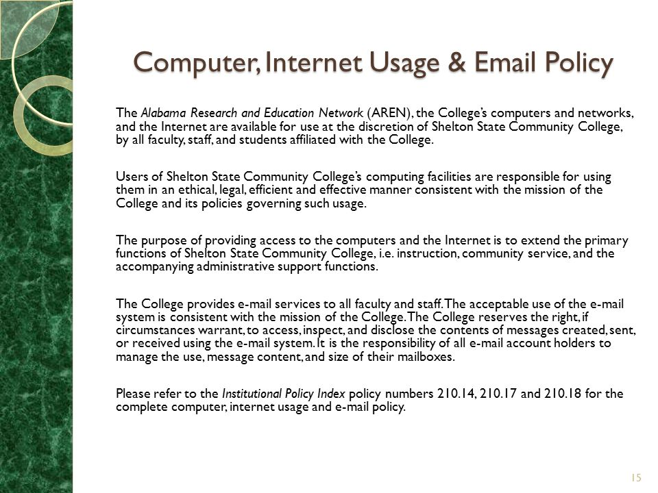 Computer, Internet Usage & Email Policy