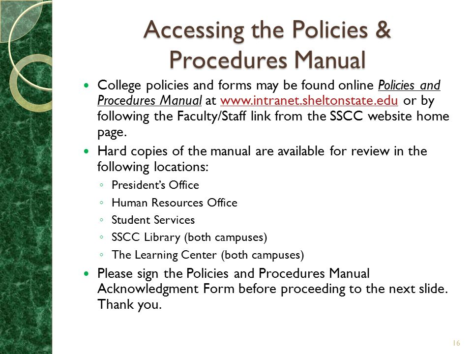 Accessing the Policies & Procedures Manual