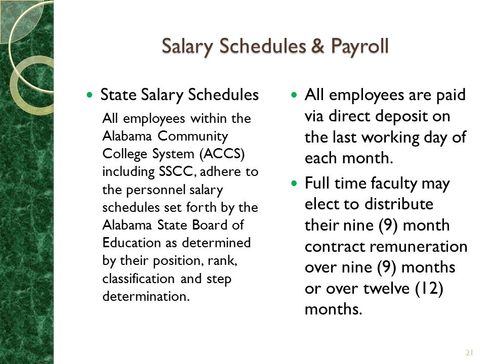 Salary Schedules & Payroll