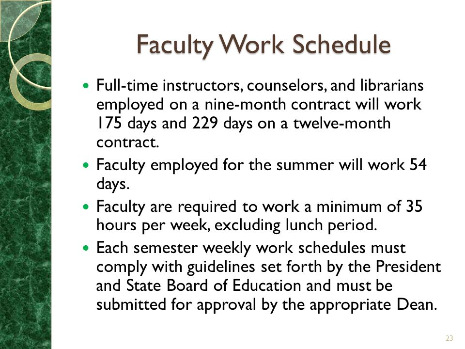 Faculty Work Schedule