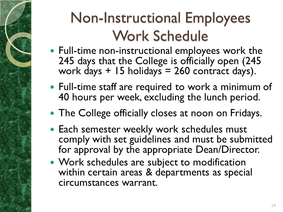 Non-Instructional Employees Work Schedule