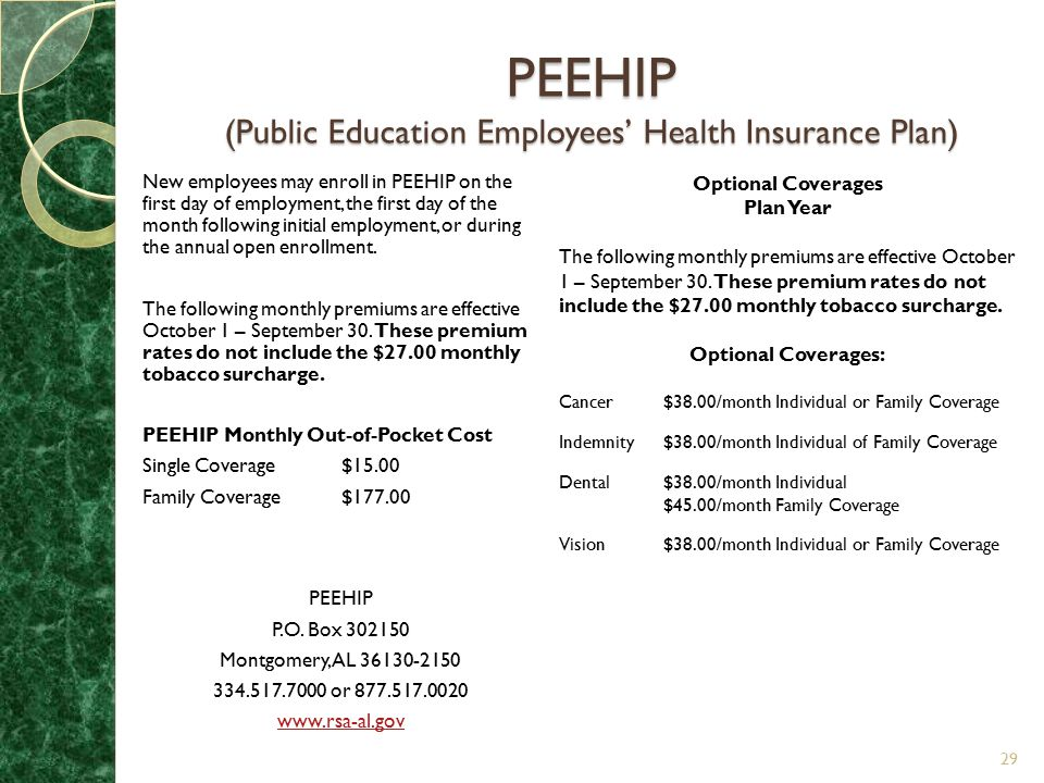PEEHIP (Public Education Employees' Health Insurance Plan)