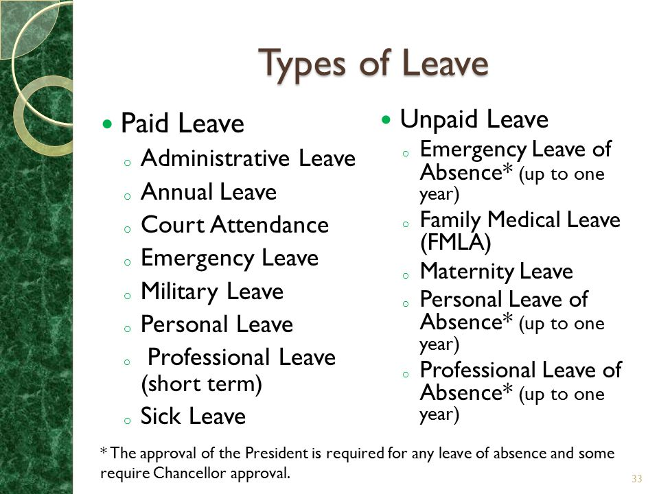 Types of Leave Paid Leave Unpaid Leave Administrative Leave