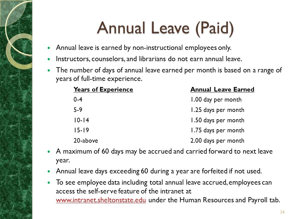 Annual Leave (Paid) Annual leave is earned by non-instructional employees only. Instructors, counselors, and librarians do not earn annual leave.