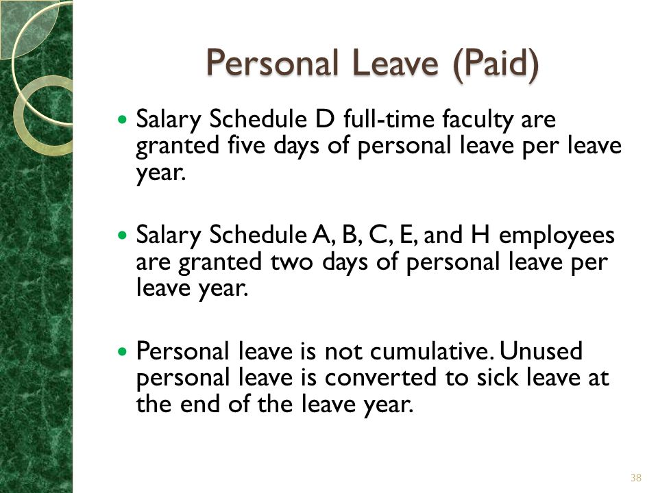 Personal Leave (Paid) Salary Schedule D full-time faculty are granted five days of personal leave per leave year.