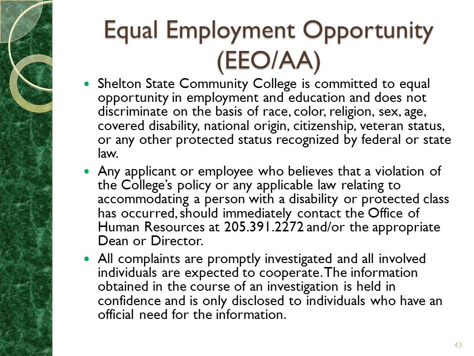 Equal Employment Opportunity (EEO/AA)
