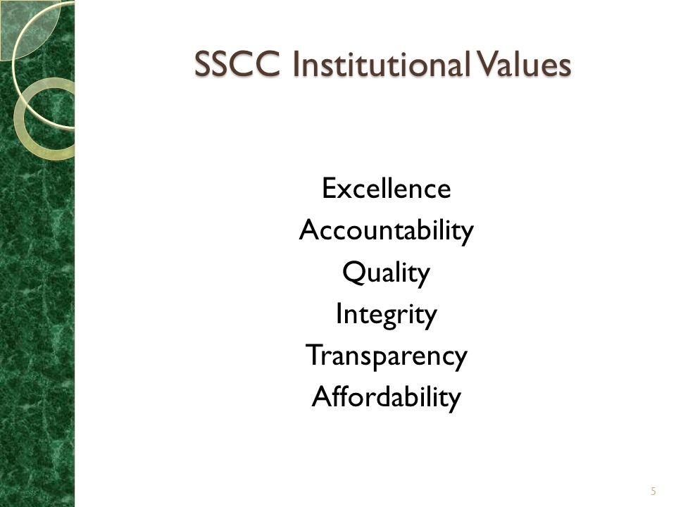 SSCC Institutional Values