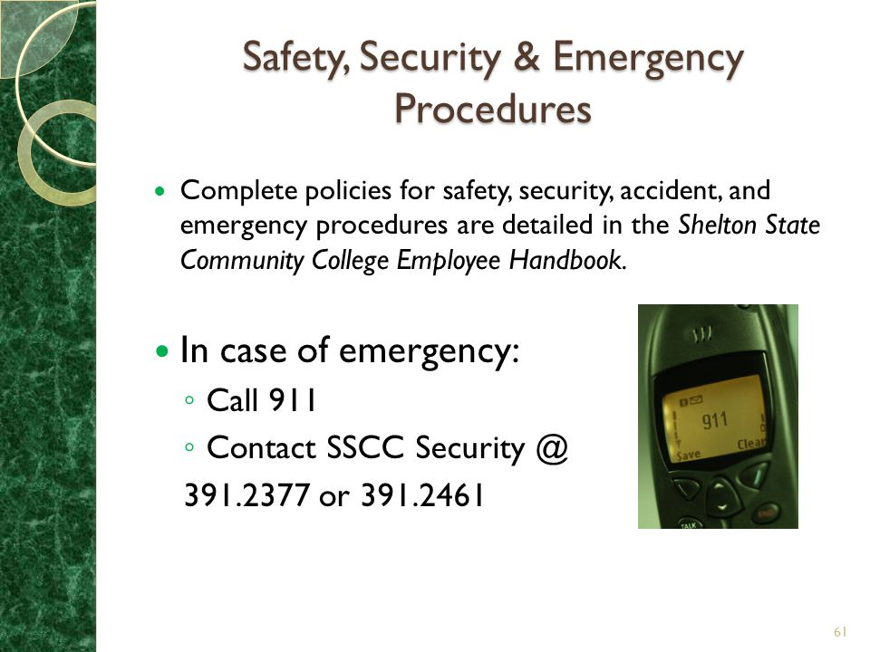 Safety, Security & Emergency Procedures