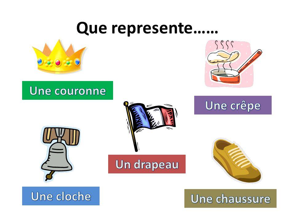 Que represente…… Une couronne Une crêpe Un drapeau Une cloche