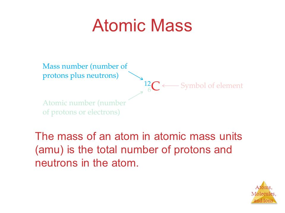 Atomic Mass The mass of an atom in atomic mass units (amu) is the total number of protons and neutrons in the atom.