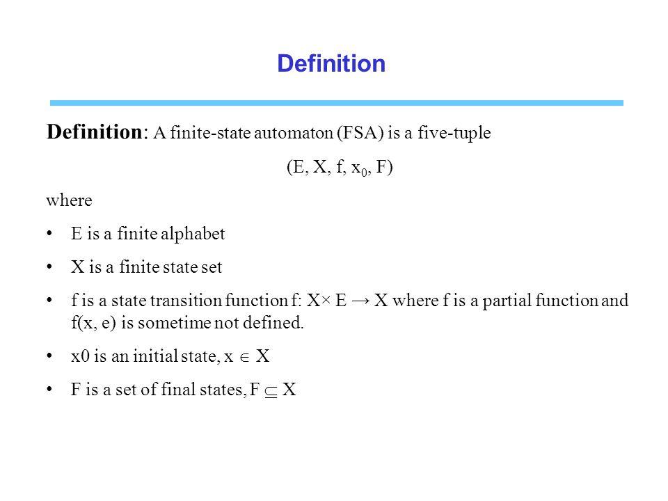 Definition Definition: A finite-state automaton (FSA) is a five-tuple