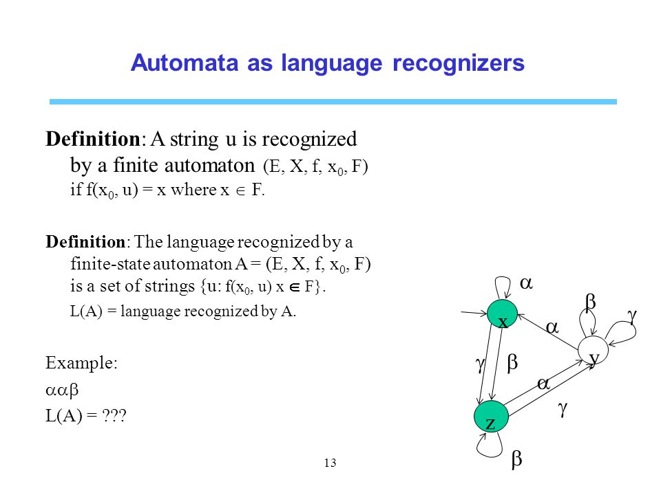 Automata as language recognizers