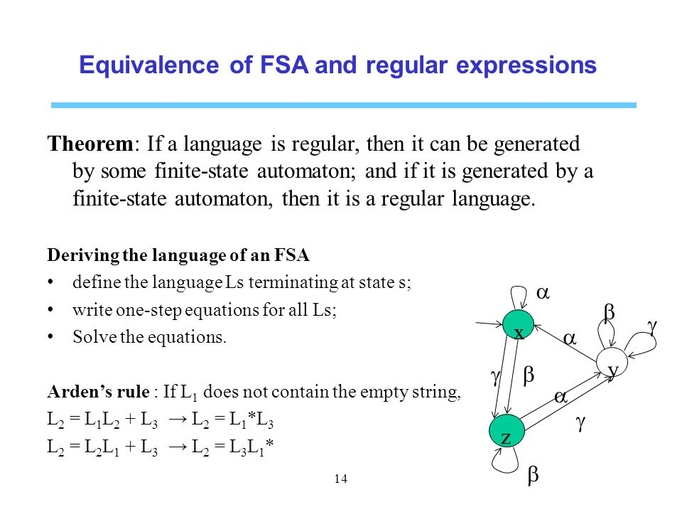 Equivalence of FSA and regular expressions