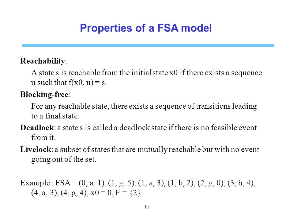 Properties of a FSA model