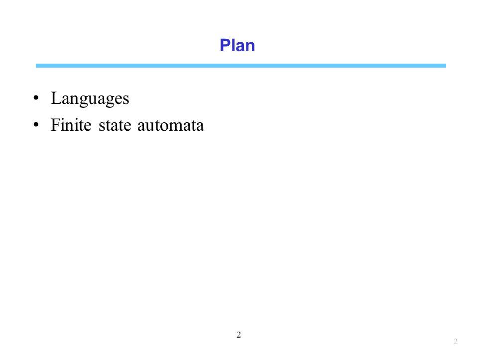 Plan Languages Finite state automata 2