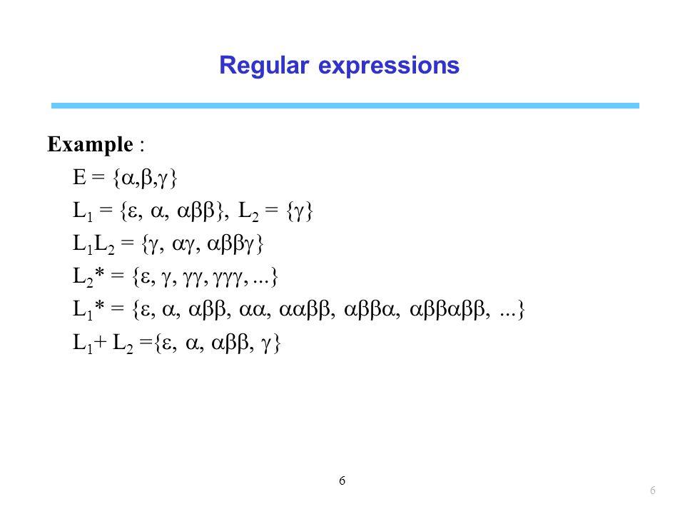 Regular expressions Example : E = {a,b,g} L1 = {e, a, abb}, L2 = {g}