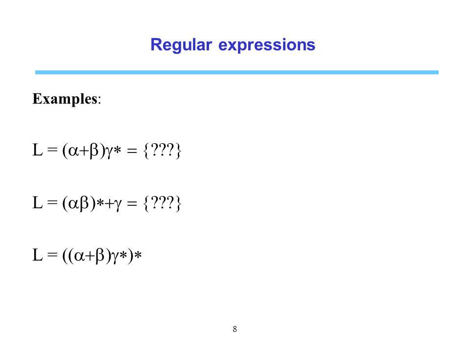 L = (a+b)g* = { } L = (ab)*+g = { } L = ((a+b)g*)*