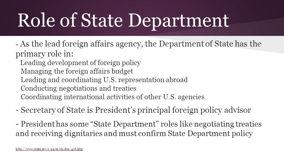 Role of State Department