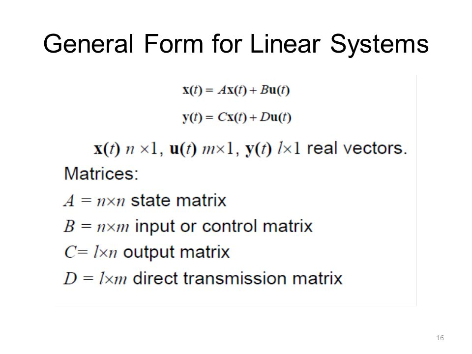 General Form for Linear Systems
