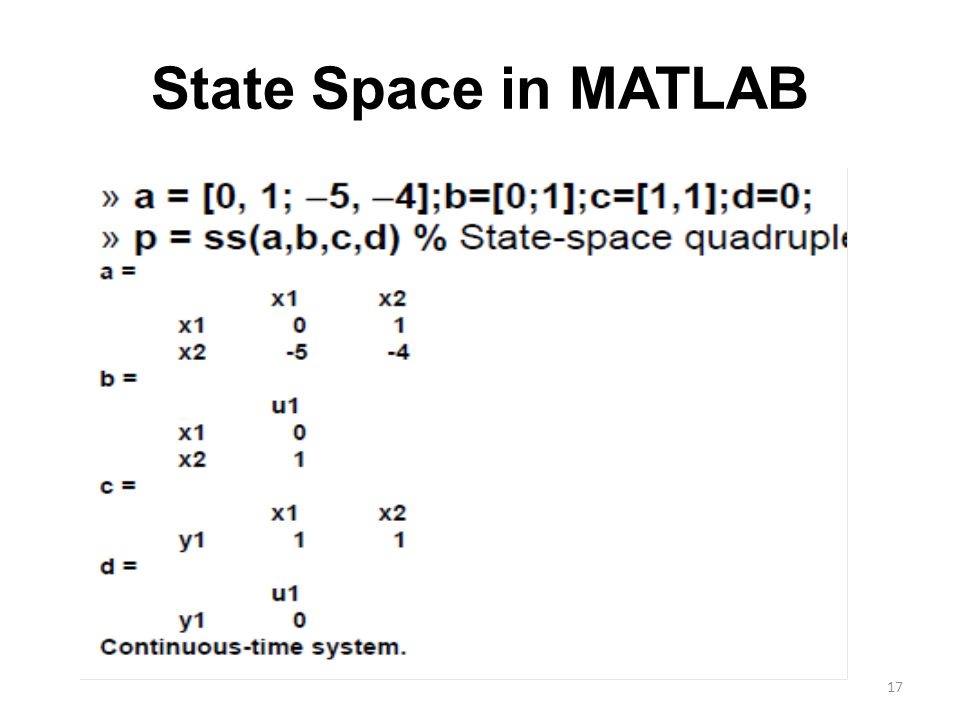 State Space in MATLAB