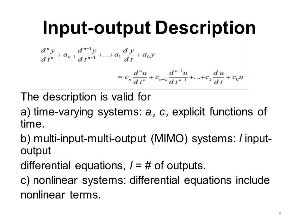 Input-output Description