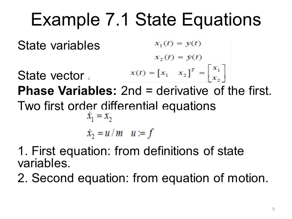 Example 7.1 State Equations