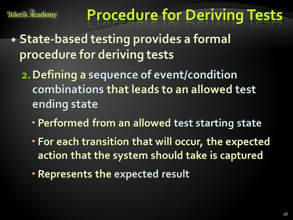 Procedure for Deriving Tests