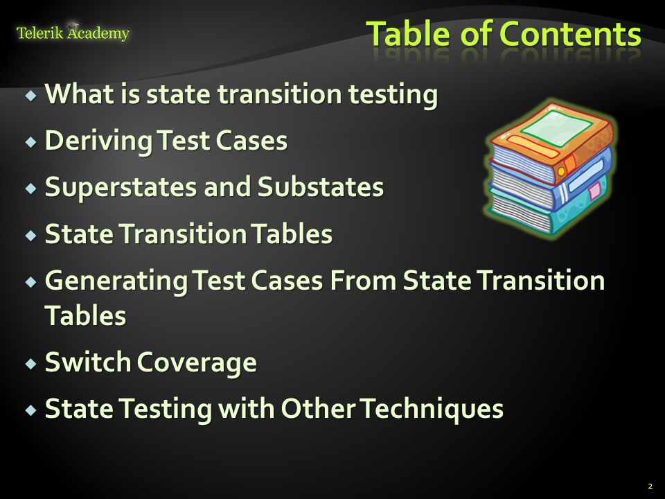 Table of Contents What is state transition testing Deriving Test Cases