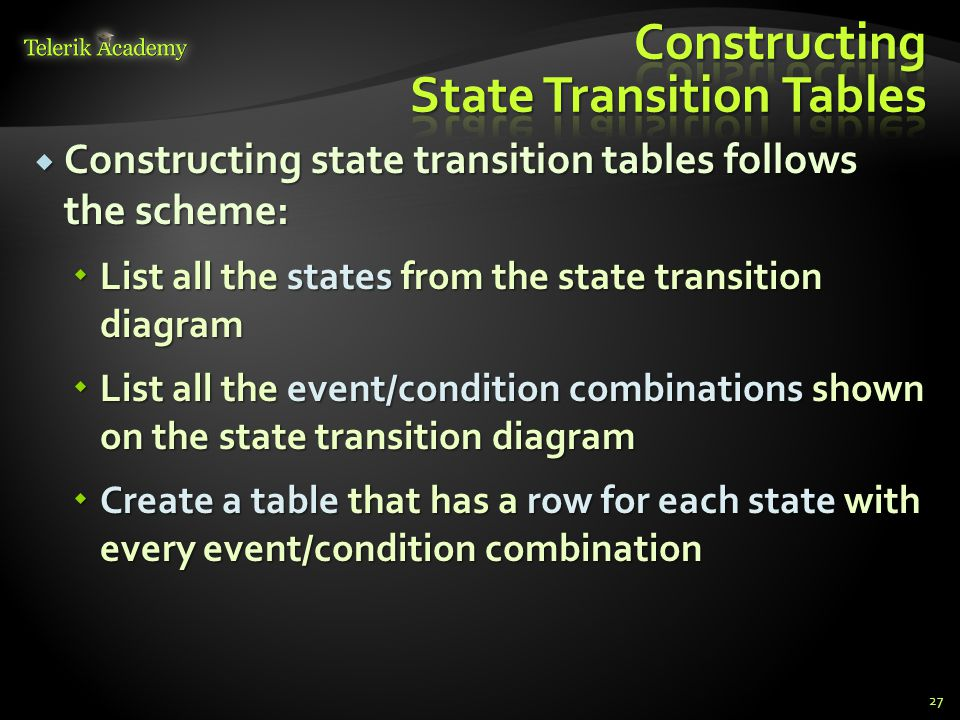 Constructing State Transition Tables