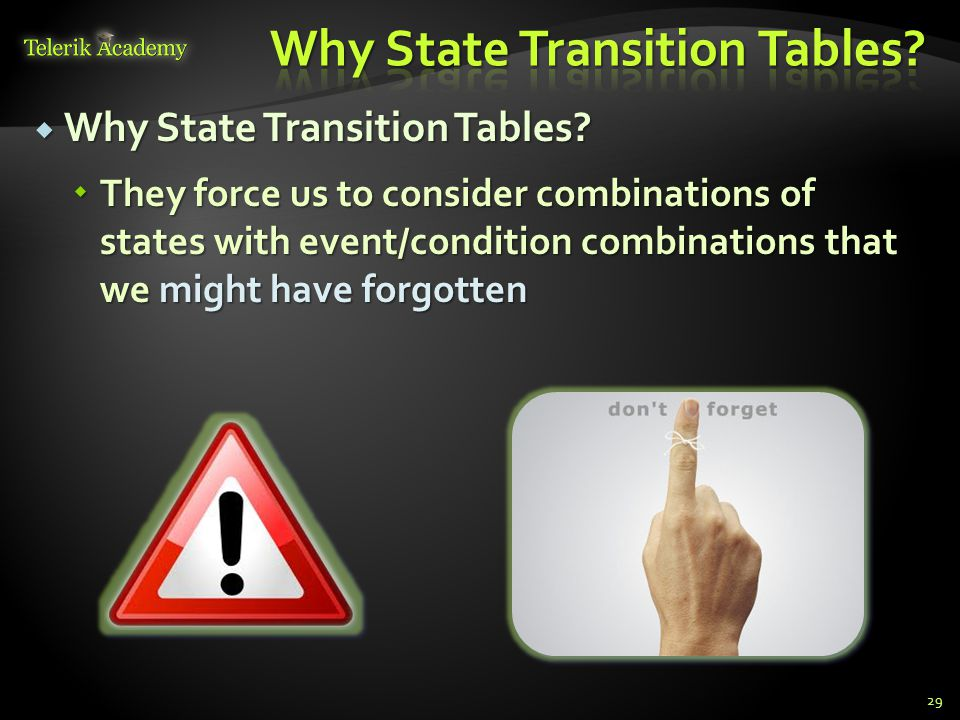 Why State Transition Tables