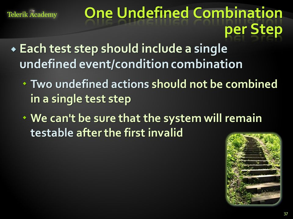 One Undefined Combination per Step