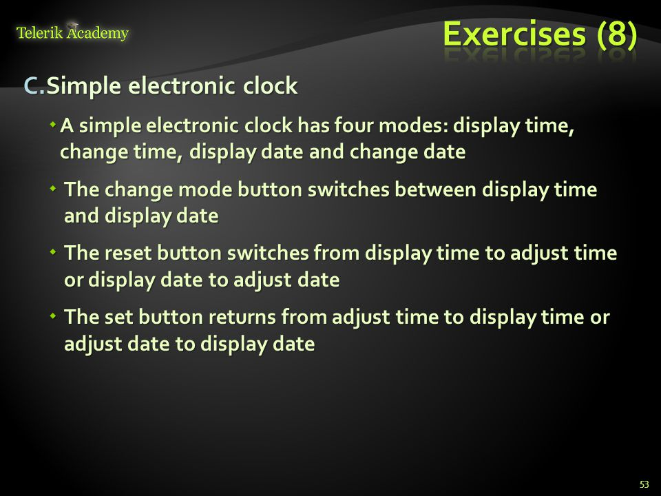 Exercises (8) Simple electronic clock