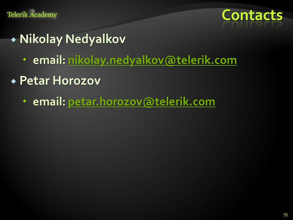 Contacts Nikolay Nedyalkov Petar Horozov
