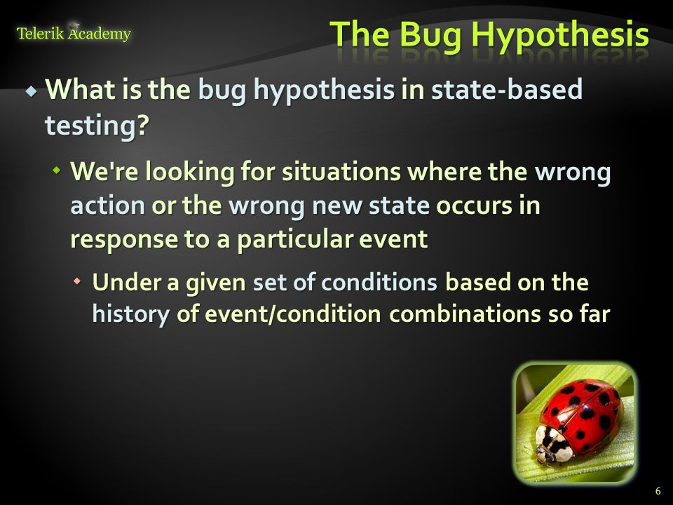 The Bug Hypothesis What is the bug hypothesis in state-based testing