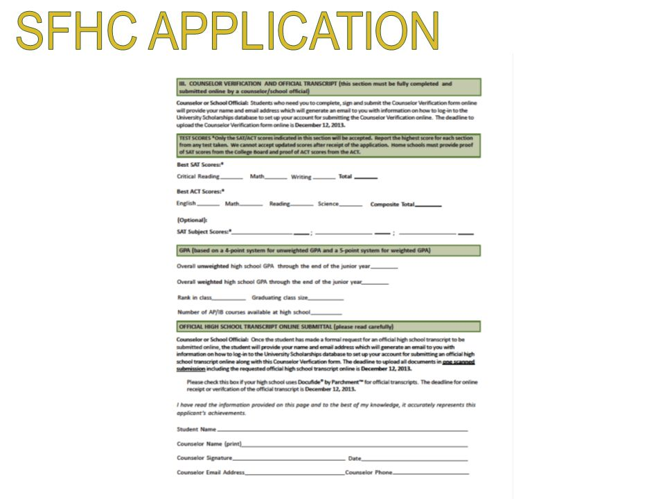 SFHC APPLICATION