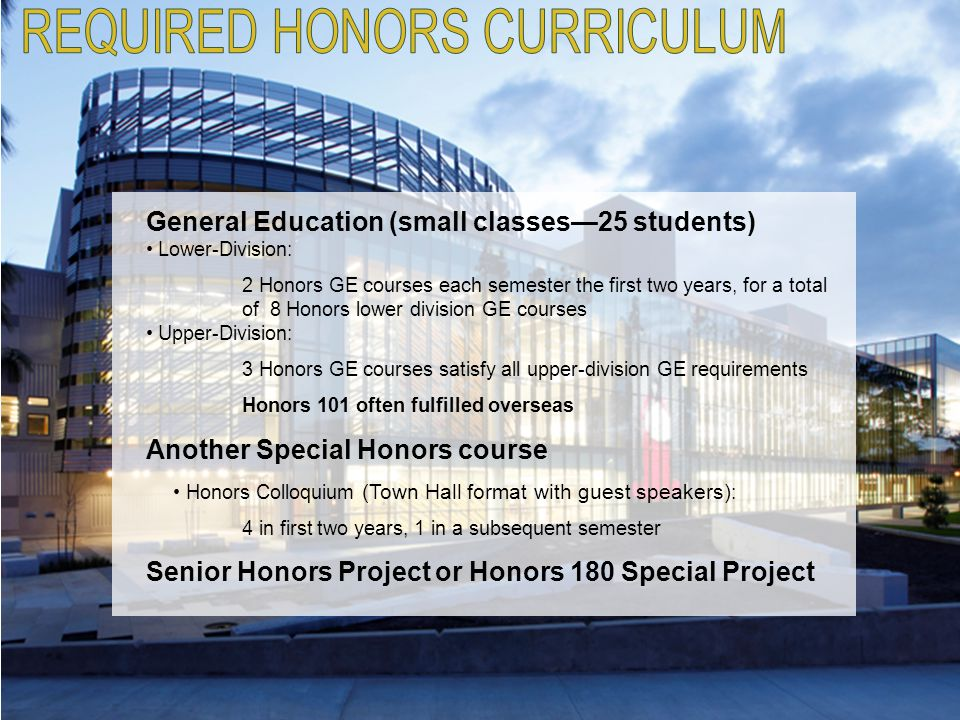 REQUIRED HONORS CURRICULUM