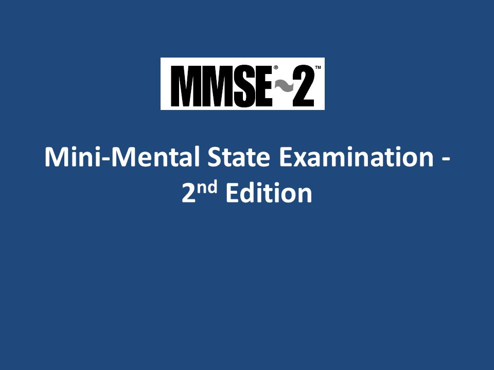 Mini-Mental State Examination - 2nd Edition