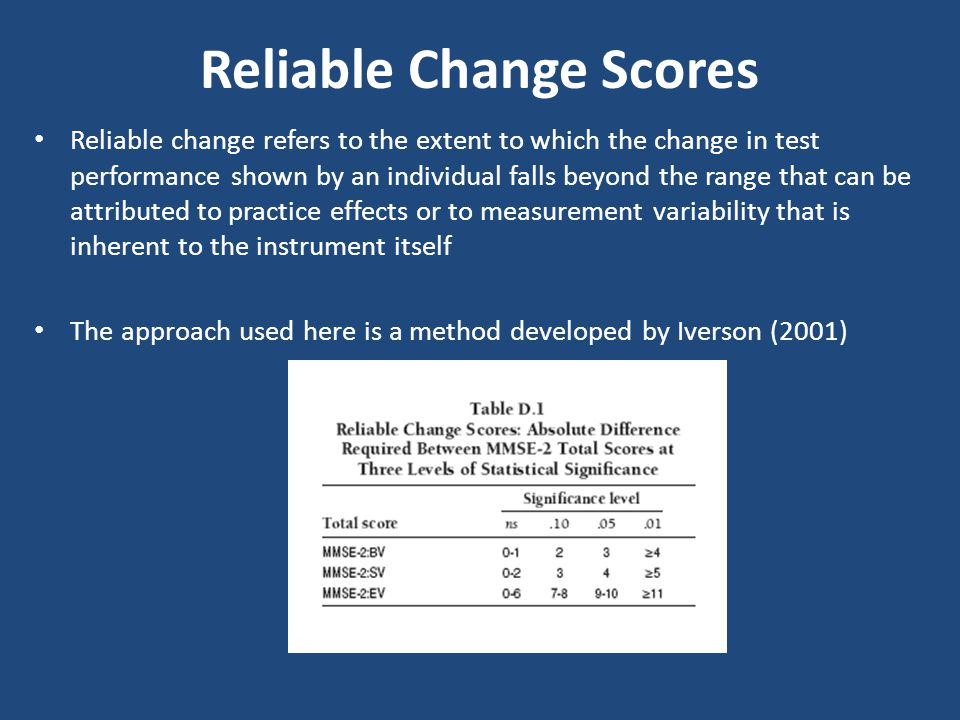Reliable Change Scores