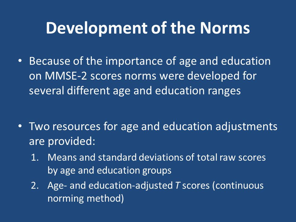 Development of the Norms