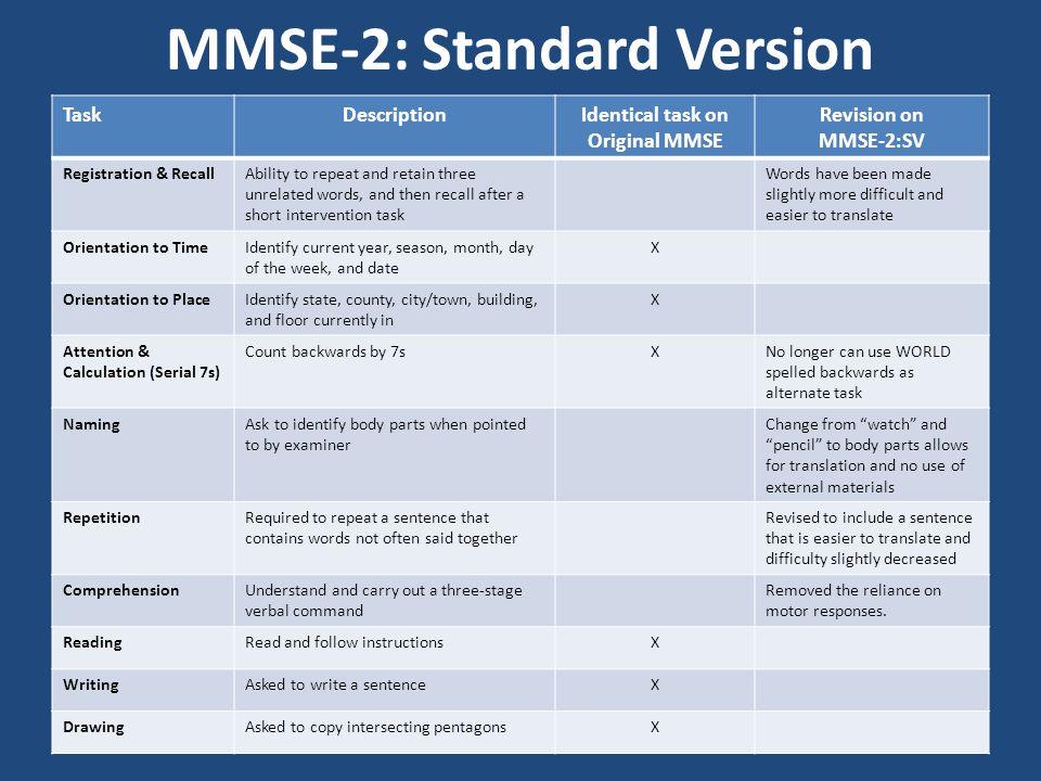 MMSE-2: Standard Version