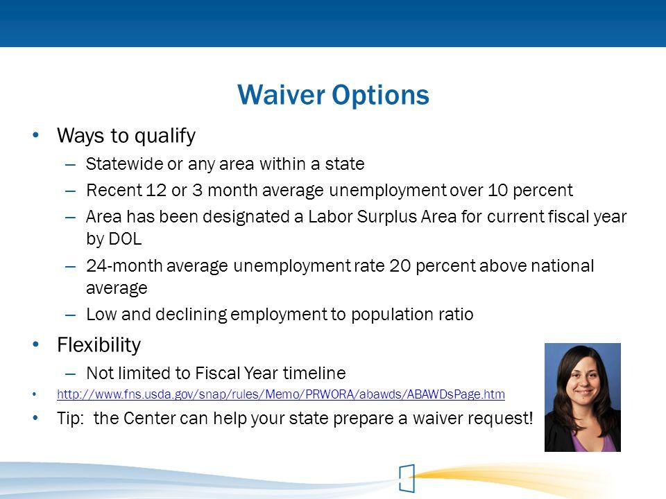 Waiver Options Ways to qualify Flexibility