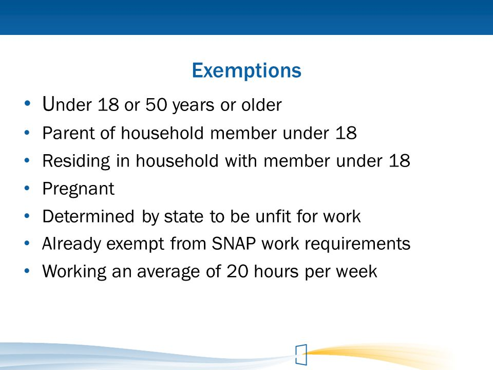 Exemptions Under 18 or 50 years or older