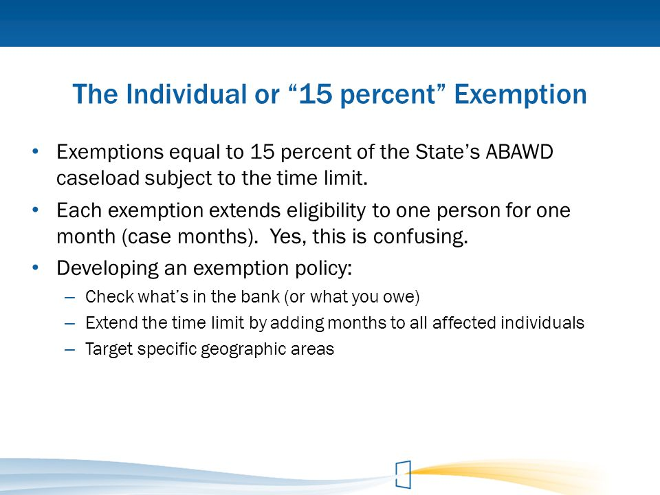 The Individual or 15 percent Exemption